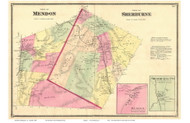 Mendon and Sherburne Towns, Mendon and Sherburne Villages, Vermont 1869 Old Town Map Reprint - Rutland Co.