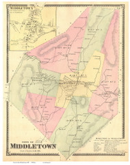 Middletown Town and Village, Vermont 1869 Old Town Map Reprint - Rutland Co.