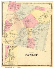 Pawlet Town, West Pawlet Village, Vermont 1869 Old Town Map Reprint - Rutland Co.