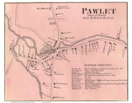 Pawlet Village, Vermont 1869 Old Town Map Reprint - Rutland Co.