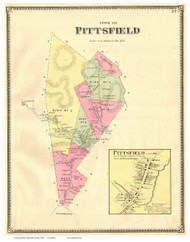 Pittsfield Town and Village, Vermont 1869 Old Town Map Reprint - Rutland Co.