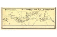Pittsford, Hitchcocksville, and Pittsford Mills Villages, Vermont 1869 Old Town Map Reprint - Rutland Co.