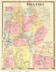 Poultney Town and Slate Quarries, Vermont 1869 Old Town Map Reprint - Rutland Co.