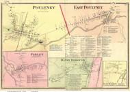 Poultney, East Poultney, Pawlet, and Danby Borough Villages, Vermont 1869 Old Town Map Reprint - Rutland Co.