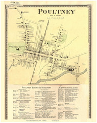 Poultney Village and Business Directory, Vermont 1869 Old Town Map Reprint - Rutland Co.