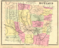 Rutland, Vermont 1869 Old Town Map Reprint - Rutland Co.