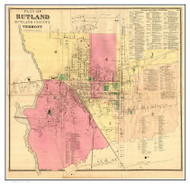 Rutland - Downtown, Vermont 1869 Old Town Map Reprint - Rutland Co.