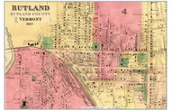 Rutland Downtown - Cropped, Vermont 1869 Old Town Map Reprint - Rutland Co.