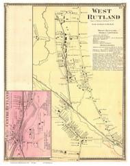 West Rutland and Centre Rutland Villages, Vermont 1869 Old Town Map Reprint - Rutland Co.