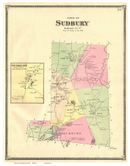 Sudbury Town and Village, Vermont 1869 Old Town Map Reprint - Rutland Co.