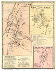 Wallingford, East Wallingford, and South Wallingford Villages, Vermont 1869 Old Town Map Reprint - Rutland Co.