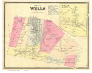 Wells Town and Village, Vermont 1869 Old Town Map Reprint - Rutland Co.