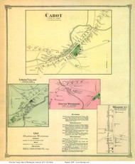 Lower Village, Cabot, Woodbury, and South Woodbury Villages, Vermont 1873 Old Town Map Reprint - Washington Co.