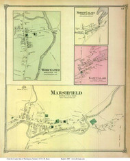 Marshfield, Worcester, North Calais, and East Calais Villages, Vermont 1873 Old Town Map Reprint - Washington Co.