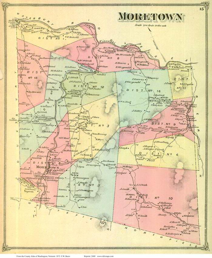 Moretown, Vermont 1873 Old Town Map Reprint - Washington Co