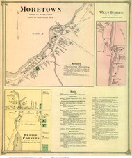 Moretown, West Berlin, and Berlin Corners Villages, Vermont 1873 Old Town Map Reprint - Washington Co.