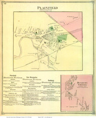 Plainfield and Duxbury Corners Villages, Vermont 1873 Old Town Map Reprint - Washington Co.
