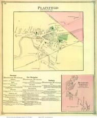 Plainfield and Duxbury Corners Villages, Vermont 1873 Old Town Map Reprint - Washington Co.
