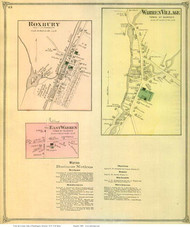 Warren Village, East Warren, and Roxbury Villages, Vermont 1873 Old Town Map Reprint - Washington Co.