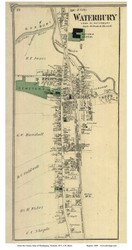 Waterbury Village - Custom, Vermont 1873 Old Town Map Reprint - Washington Co.