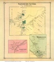 Waterbury Centre, Colbyville, and Middlesex Villages, Vermont 1873 Old Town Map Reprint - Washington Co.