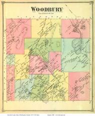 Woodbury, Vermont 1873 Old Town Map Reprint - Washington Co.