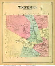 Worcester, Vermont 1873 Old Town Map Reprint - Washington Co.