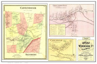 Cavendish Poster Map, 1869 Old Town Map Custom Print - Windsor Co. VT