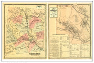Chester Poster Map, 1869 Old Town Map Custom Print - Windsor Co. VT