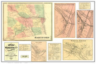 Hartford Poster Map, 1869 Old Town Map Custom Print - Windsor Co. VT