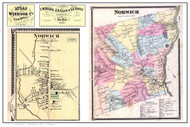 Norwich Poster Map, 1869 Old Town Map Custom Print - Windsor Co. VT