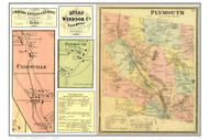 Plymouth Poster Map, 1869 Old Town Map Custom Print - Windsor Co. VT