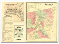 Sharon Poster Map, 1869 Old Town Map Custom Print - Windsor Co. VT