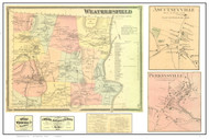 Weathersfield Poster Map, 1869 Old Town Map Custom Print - Windsor Co. VT