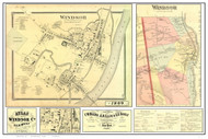 Windsor Poster Map, 1869 Old Town Map Custom Print - Windsor Co. VT