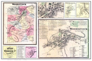 Woodstock Poster Map, 1869 Old Town Map Custom Print - Windsor Co. VT