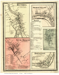 Bethel, East Bethel, Sharon, Royalton, and South Royalton Villages, Vermont 1869 Old Town Map Reprint - Windsor Co.
