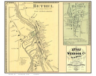 Bethel and East Bethel Villages (Custom), Vermont 1869 Old Town Map Reprint - Windsor Co.