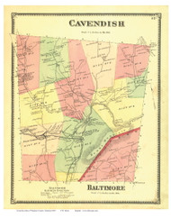 Cavendish and Part of Baltimore, Vermont 1869 Old Town Map Reprint - Windsor Co.