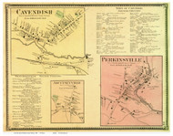 Felchville, Proctorsville, and South Reading Villages - Cavendish, Vermont 1869 Old Town Map Reprint - Windsor Co.