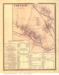 Chester Village and Business Directory, Vermont 1869 Old Town Map Reprint - Windsor Co.