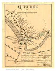 Quechee Closeup (Custom) - Hartford, Vermont 1869 Old Town Map Reprint - Windsor Co.