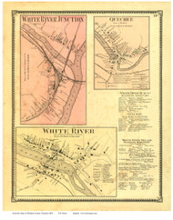 White River Junction, White River, and Quechee Villages - Hartford, Vermont 1869 Old Town Map Reprint - Windsor Co.