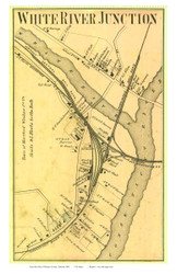White River Junction Closeup (Custom) - Hartford, Vermont 1869 Old Town Map Reprint - Windsor Co.