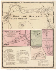 Hartland, Hartland 4 Corners, North Hartland, Brownsville, Unionville, and Plymouth Villages, Vermont 1869 Old Town Map Reprint - Windsor Co.