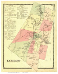 Ludlow, Vermont 1869 Old Town Map Reprint - Windsor Co.