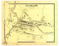 Ludlow Village, Vermont 1869 Old Town Map Reprint - Windsor Co.