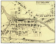 Ludlow Village Closeup (Custom), Vermont 1869 Old Town Map Reprint - Windsor Co.
