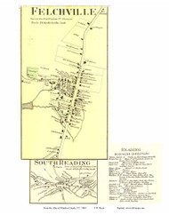 Felchville and South Reading Villages (Custom) - Reading, Vermont 1869 Old Town Map Reprint - Windsor Co.
