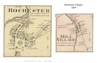 Rochester and Mill Village (Custom) - Rochester, Vermont 1869 Old Town Map Reprint - Windsor Co.